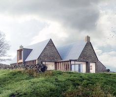 Tib Hill by Ian Hazard Architect. The proposed replacement dwelling continues the long historical use of the longhouse to provide an intimate arrangement of spaces that reflect the more contemporary use of the landscape. Vernacular Architecture, Residential Architecture, Architecture Design, Pavilion Architecture, Organic Architecture, Japanese Architecture, Contemporary Barn, Contemporary Architecture, Stone Patio Designs