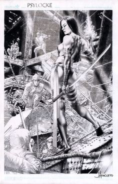 Psylocke vs. the Hand by Jay Anacleto.