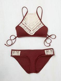Boho Ladies Lace Halter Bikini Set