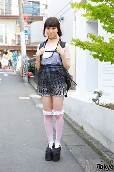 Meet Nopi, a 17-year-old student wearing black and white who we met in Harajuku.