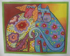 Handpainted Needlepoint Canvas Danji Kindred Spirits Cat Dog Laurel Burch LB-02 #DanjiLaurelBurch