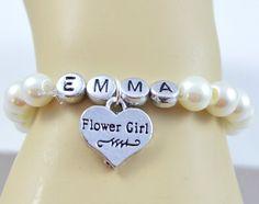 Personalized Flower Girl Bracelet, Name Bracelet, Flower Girl Jewelry, Gift for Flower Girl, Ivory (Custom)