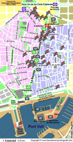 Map of Las Ramblas Linked to Photos of Points of Interest