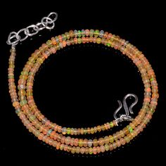 "24CRTS 2.5to3.5MM 18"" ETHIOPIAN OPAL RONDELLE BEAUTIFUL BEADS NECKLACE OBI1363 #OPALBEADSINDIA"