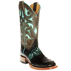 Cinch Western Boots Womens Ostrich Leather Inlay Square Black CFW569