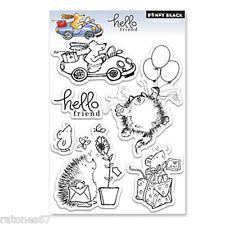 New Penny Black HELLO FRIEND Clear Stamps Hedgehog Cat Dog Car Presents Balloons