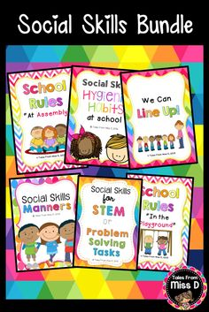 Teach your students about basic Social Skills with this bundle of 6 resources; Social Skills - Manners Social Skills - Hygiene Social Skills - STEM & Group Work Social Skills - Assembly Social Skills - Playground Social Skills - Lining Up Save 20% by buying these as a bundle! © Tales From Miss D