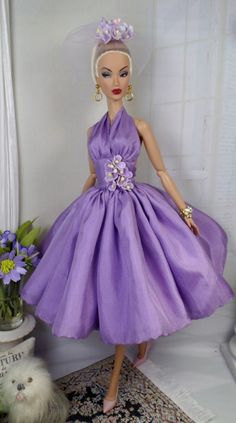 Patio Afternoons -- gorgeous purple doll dress!