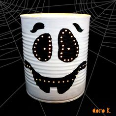 Would like ti put some stirofoam on top with some lolly pops stuck in there so it looks like hair. halloweenGreat gidt for teachers halloween tin can tealights;