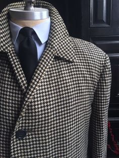 Vintage 1960s Black White Houndstooth Tweed Half Raglan Overcoat Size 42 Long | eBay