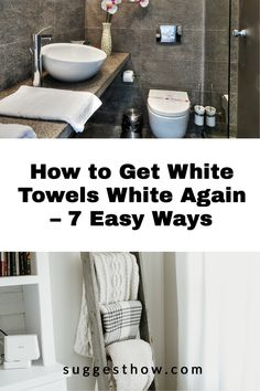 Say bye to dingy towels with these DIY fixes to keep your towels at its whitest. It is a fact that any white laundry gets dirty easily and is difficult to maintain. When your fluffy white towels begin to have stains, specks, graying and discoloring, you'll be wondering how to get white towels white again. #householdtips #cleaning #naturally Deep Cleaning Tips, Household Cleaning Tips, Cleaning Walls, Bathroom Cleaning, White Towels, Housekeeping, Clean House, Organizing, Laundry