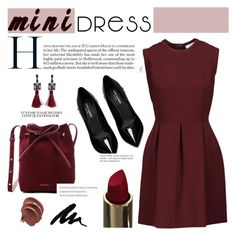 """""""Dressy Mini"""" by sweet-jolly-looks ❤ liked on Polyvore featuring Sandro, Yves Saint Laurent, Mansur Gavriel, cute, dress, holidays and minidress"""