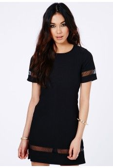 Soledad Mesh Panel Shift Dress In Black - :)