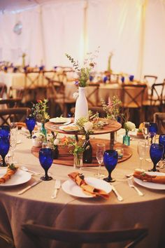 blue water goblets // photo by W&E Photographie // view more: http://ruffledblog.com/rainy-day-georgia-wedding