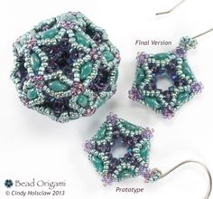 Some insight into designing matching earrings for the Fiberoptic Dodecahedron Pendant - Cindy Holsclaw - Bead Origami