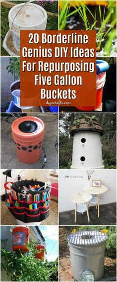 20 Borderline Genius DIY Ideas For Repurposing Five Gallon Buckets #repurpose #upcycle #diy #homeprojects via @vanessacrafting