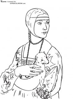 Coloring book pages of famous works of art: Lady With An Ermine By Leonardo Da Vinci