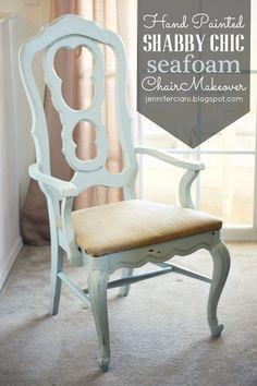 Painted Seafoam Chair Makeover: sea foam/mint,  distressed, blue, burlap, DIY, painted chair, repainted