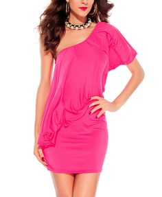 Diagonal Shoulder Pleated Sexy Fashionable Dress