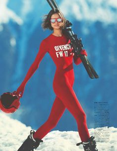 Model of the moment Birgit Kos suits up, styled by Giovanna Battaglia Engelbert in ski-ready, snow-bunny looks from Givenchy, Emporio Armani, Gucci and more. Photographer Erik Torstensson captures Birgit in 'Skiing in Luxury' for Vogue Japan August Vogue Japan, Snow Fashion, Winter Fashion, Street Fashion, Apres Ski Outfits, Ski Et Snowboard, Snowboarding, Ski Bunnies, Snow Outfit
