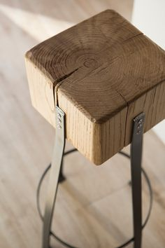 Sgabello by Industrie Delamont #industrial #stool #wood #castagno #chestnut #iron #sgabello #industriale