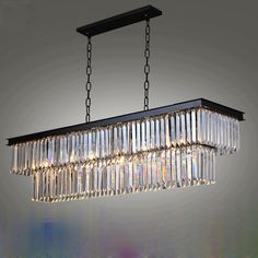 T 2016 New Large LED Crystal Luxury Rectangular Pendant Light Modern Creative Iron Lamps for. Click visit to buy Crystal Chandelier Lighting, Iron Chandeliers, Candle Chandelier, Industrial Pendant Lights, Modern Pendant Light, Rectangular Chandelier, Light Fixtures, Ceiling Fixtures, Ceiling Lights