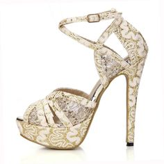42.39$  Buy here - http://alibxj.shopchina.info/go.php?t=32679341173 - 2016 New Gold Glitter Elegant Party Women's Shoes PeepToe Stiletto Heel Platform Sandals with Buckle Zapatos Mujer 3463SL-p2    #aliexpress