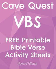 Cave Quest VBS Bible Verse Activity Sheets - BorrowedBlessingsnet - Title