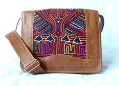 Umhängetasche aus Leder mit Mola-Dekor von MOLA-BAGS auf DaWanda.com