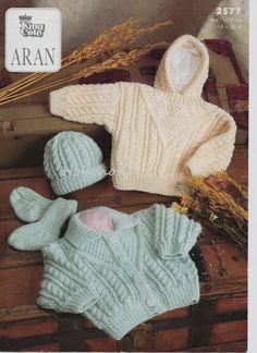 Baby childs childrens aran cardigan aran sweater with hood hat & socks aran set 16-30 inches ARAN Knitting Pattern PDF instant download