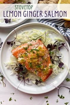 If you are looking for how to cook the perfect salmon on your stovetop, this recipe is for you. This Lemon Ginger Salmon is quick and easy to make, with simple but delicious seasonings. Perfect for a healthy dinner! #salmon #dinnerideas #paleo Pan Cooked Salmon, Cooked Salmon Recipes, Whole30 Salmon Recipes, Cooking Salmon, Healthy Dinner Recipes, Real Food Recipes, Dairy Free Keto Recipes, Eggless Recipes, Egg Free Recipes