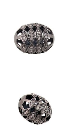 Findings and Stampings 165142: 21X16 Mm 925 Sterling Silver Bead Fashion Spacer Diamond Pave Finding Jewelry BUY IT NOW ONLY: $125.8
