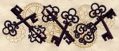 Embroidered Flour Sack Towel Set Of Two - Filigree Steampunk Key $40 - click on the photo for a direct link -   http://goreydetails.net/shop/index.php?main_page=product_info=37_88_id=1126