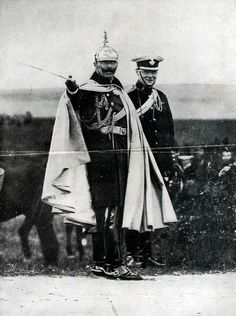 A rare photograph of Sir Winston Churchill of the British Empire and Kaiser Wilhelm II of the German Empire. The Kaiser displays German military exercises to the then parliamentarian and military Major of Britain. Little did the two realize they'd be fighting against one another in the coming 5 years. 1909.
