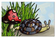 Sally & Damian Snail Shroom Grass #Art #Illustration #Design #Painting #Beautiful #artwithus