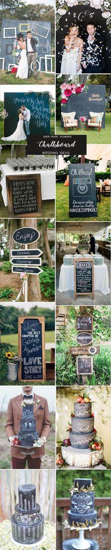 Black and white wedding color ideas - chalkboard wedding theme ideas / http://www.deerpearlflowers.com/rustic-wedding-themes-ideas-part-2/2/
