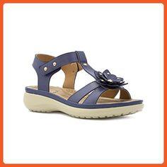 66271f9eb8dec Heavenly Feet Womens Navy T-Bar Sandal - Size 38   7 US - Blue