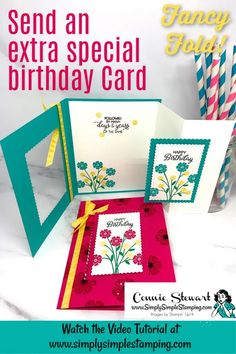I'm excited to show you how to make a DIY Birthday card fun fold style. If you love easy fun fold cards, you are going to be SO glad to have this tutorial. Check it out at www.simplysimplestamping.com #diycards #diybirthdaycards #birthdaycards #birthdaycardshandmade #handmadecards #birthdaygreetingcards #greetingcardshandmade #simplysimplestamping #conniestewart #stampinup #stampinupcards