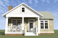 Bungalow Style House Plan - 1 Beds 1 Baths 841 Sq/Ft Plan #64-123 Exterior - Front Elevation - Houseplans.com