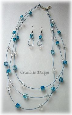 Blue crackled glass necklace and earrings by crealotte on Etsy, $35.00