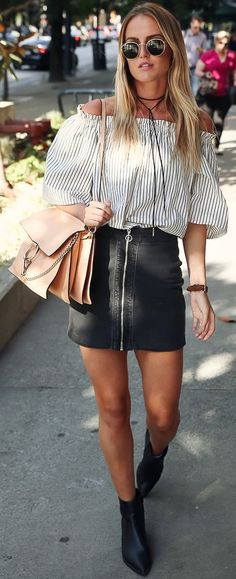 #fall #blackandwhite #outfit #ideas | Off The Shoulder Striped Top + Black Leather Skirt