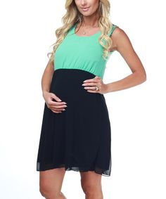 Take a look at this Mint & Black Color Block Maternity Dress by PinkBlush Maternity on #zulily today!