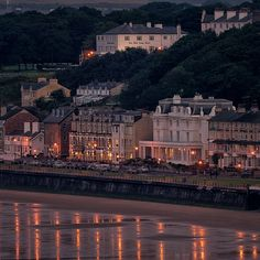 Filey at dusk by Tony McLean, via Flickr Lived in one of those hotels (SeaBrink) as a baby!