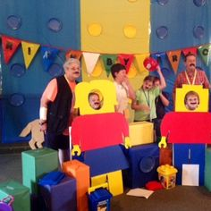 Lego VBS Set Idea. Cardboard boxes covered with colorful paper, add colorful paper plates to create giant lego-like pieces! Cardboard lego people.