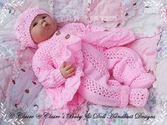 "Lacy Winter Pram Set 16-22"" doll (preemie-3m+ baby)-pram suit, babydoll handknitdesigns, pattern, knitting pattern, lacy, reborn, baby"