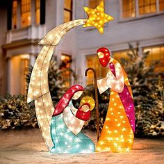 KNLSTORE Tall Christmas Lighted Nativity Scene Display w/ Holy Family Mary Joseph Baby Jesus Star of Bethlehem Clear Lights Decor Tinsel Outdoor Holiday Yard Decoration by knl store Christmas Yard Art, Christmas Nativity Scene, Christmas Lights, Christmas Diy, Nativity Scenes, Amazon Christmas, Xmas, Christmas Bells, Homemade Christmas