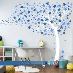 (3808n) #Nálepka na stenu - #Strom s hviezdami #artsablony