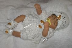 Free Baby Girl Crochet Dress | Cheri's Crochet Baby or reborn baby doll clothing or craftsbycheri
