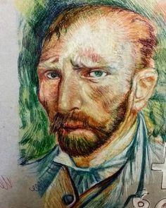 """Un Vincent personalizzato.. #art #myart #drawing #Vincent #vangogh #love #instaart #pen #pencil #colorful #colored #sketch #draw #portrait #instaartist"""
