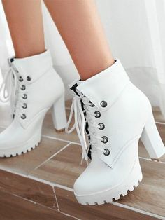 White Round Toe Chunky Rivet Fashion High-Heeled Boots Available Sizes Shaft Height Heel Height Platform Height Heel Height :High Heel Type :Chunky Boot Shaft :Ankle Color :White Toe :Round Shoe Vamp :PU Leather Closure :Lace-up Fashion Heels, Fashion Boots, Sneakers Fashion, Fashion Top, Hijab Fashion, Street Fashion, Fashion Jewelry, Kawaii Shoes, Platform Ankle Boots